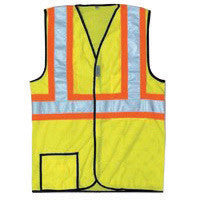 "OccuNomix Medium Hi-Viz Yellow OccuLux Premium Light Weight Cool Polyester Mesh Class 2 Two-Tone Vest With Front Hook And Loop Closure And 3M Scotchlite 2"" Reflective Tape And 2 Pockets"