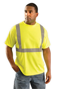 "OccuNomix Large Hi-Viz Yellow Classic Birdseye Light Weight Wicking Polyester Class 2 Standard Short Sleeve T-Shirt With 2"" Silver Reflective Tape And 1 Pocket"