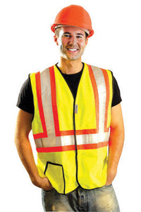 "OccuNomix 3X Hi-Viz Yellow OccuLux Premium Economy Light Weight Solid Polyester Tricot Class 2 Two-Tone Traffic Vest With Front Hook And Loop Closure And 3M Scotchlite 2"" Reflective Material Backed"