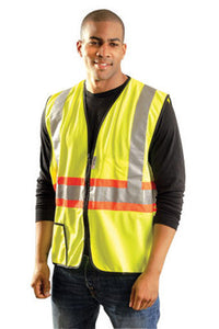 "OccuNomix Large Hi-Viz Yellow OccuLux Premium Light Weight Solid Polyester Tricot Class 2 Two-Tone Expandable Traffic Vest With Front Zipper Closure And 3M Scotchlite 2"" Reflective Tape Backed"