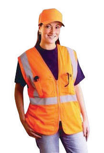 "OccuNomix Small - Medium Hi-Viz Orange OccuLux Classic Economy Light Weight Polyester Mesh Class 2 Surveyor's Vest With Front Zipper Closure And 3M Scotchlite 2"" Silver Reflective Tape And 12 Pockets"