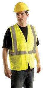 "OccuNomix Small - Medium Hi-Viz Yellow OccuLux Classic Economy Light Weight Polyester Mesh Class 2 Surveyor's Vest With Front Zipper Closure And 3M Scotchlite 2"" Silver Reflective Tape And 12 Pockets"
