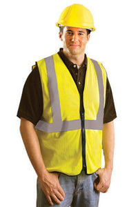 "OccuNomix Large Hi-Viz Yellow OccuLux Premium Economy Light Weight Solid Polyester Tricot Class 2 Standard Vest With Front Zipper Closure And 3M Scotchlite 2"" Reflective Tape"