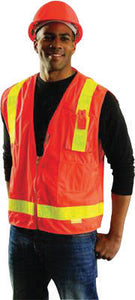 "OccuNomix Medium Orange OccuLux L'Orange Classic Premium Light Weight Solid Polyester Tricot Mesh Class 2 Vest With Front Snap Closure And 3M Scotchlite 2"" Reflective Gloss Tape And 12 Pockets"