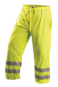 "OccuNomix Medium Hi-Viz Yellow OccuLux Premium Light Weight Tricot Class E Breathable Pants With Snap Closure, 3M Scotchlite 2"" Reflective Tape, Elastic Waistband, Removable Sleeves, Hood And"