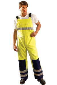 "OccuNomix 2X 48"" Hi-Viz Yellow, Blue And Silver Premium PU Coated Polyester Breathable Rain Bib Pants With Side Snap Closure, 3M Scotchlite Reflective Stripe And Zip Roll-Away Hood"