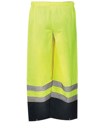 OccuNomix Large Yellow Premium Polyester And Polyurethane Breathable Rain Pants With No Fly Closure And 3M Scotchlite Reflective Stripe