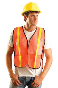 "OccuNomix X-Large Hi-Viz Orange OccuLux Value Economy Light Weight Polyester Mesh Vest With Front Hook And Loop Closure, 1"" Gloss Reflective Tape, Elastic Side Straps And 1 Pocket"