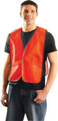 OccuNomix 4X Hi-Viz Orange OccuLux Value Economy Light Weight Polyester Mesh Vest With Front Hook And Loop Closure And Elastic Side Straps And 1 Pocket