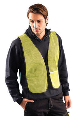 OccuNomix Regular Hi-Viz Yellow OccuLux Value Economy Light Weight Polyester Mesh Vest With Front Hook And Loop Closure And Elastic Side Straps And 1 Pocket