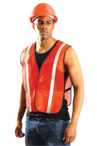 "OccuNomix 4X Hi-Viz Orange OccuLux Value Economy Light Weight Polyester Mesh Vest With Front Hook And Loop Closure, 1"" Silver Glass Bead Tape, Elastic Side Straps And 1 Pocket"
