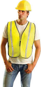"OccuNomix Regular Hi-Viz Yellow OccuLux Value Economy Light Weight Polyester Mesh Vest With Front Hook And Loop Closure, 1"" Silver Glass Bead Tape, Elastic Side Straps And 1 Pocket"