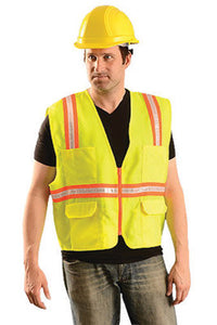 "OccuNomix Medium Hi-Viz Yellow OccuLux Classic Economy Woven Twill Solid Polyester Two-Tone Surveyor's Vest With Front Zipper Closure And 3/4"" White Gloss Tape Backed by Orange Trim And 9 Pockets"