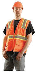 "OccuNomix Large Hi-Viz Orange OccuLux Classic Economy Woven Twill Solid Polyester Two-Tone Surveyor's Vest With Front Zipper Closure And 3/4"" White Gloss Tape Backed by Yellow Trim And 9 Pockets"