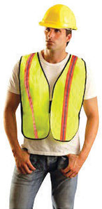 "OccuNomix 4X Hi-Viz Yellow OccuLux Value Economy Light Weight Polyester Mesh Two-Tone Vest With Front Hook And Loop Closure, 1 3/8"" Silver Gloss Tape On Orange Trim, Side Elastic Straps And 1 Pocket"