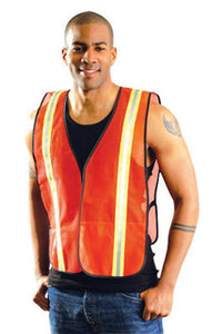 "OccuNomix 4X Hi-Viz Orange OccuLux Value Economy Light Weight Polyester Mesh Two-Tone Vest With Front Hook And Loop Closure, 1 3/8"" Silver Gloss Tape On Orange Trim, Side Elastic Straps And 1 Pocket"