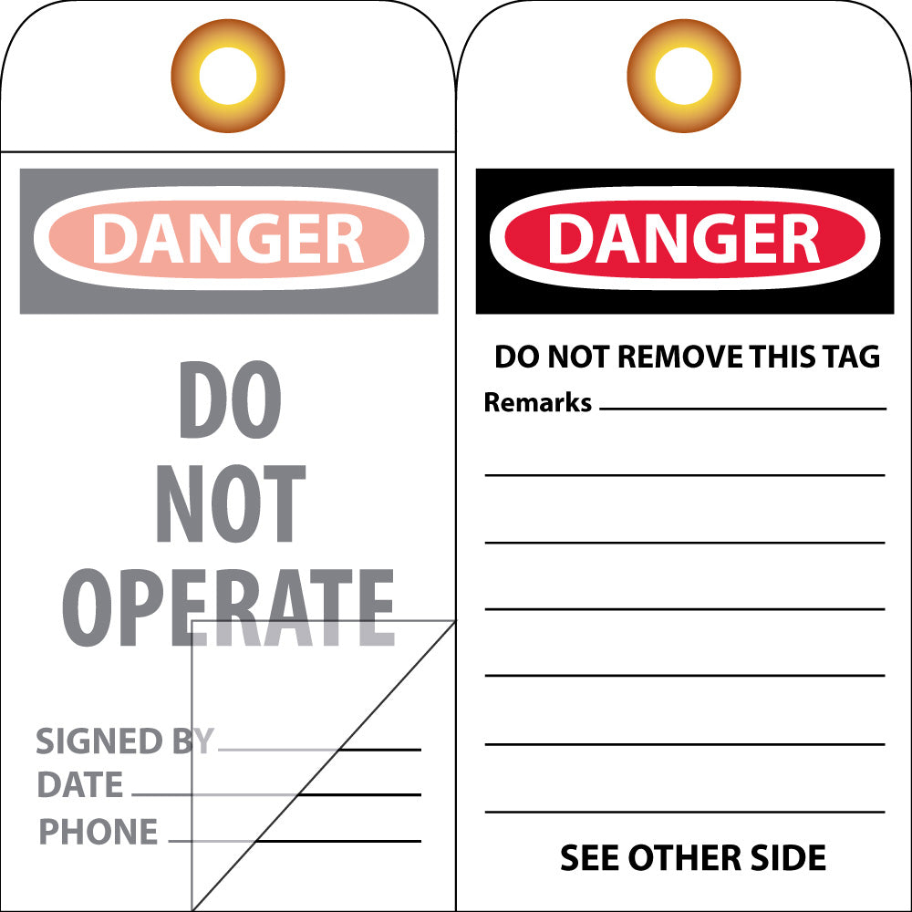 Danger Do Not Operate Tag - 10 Pack