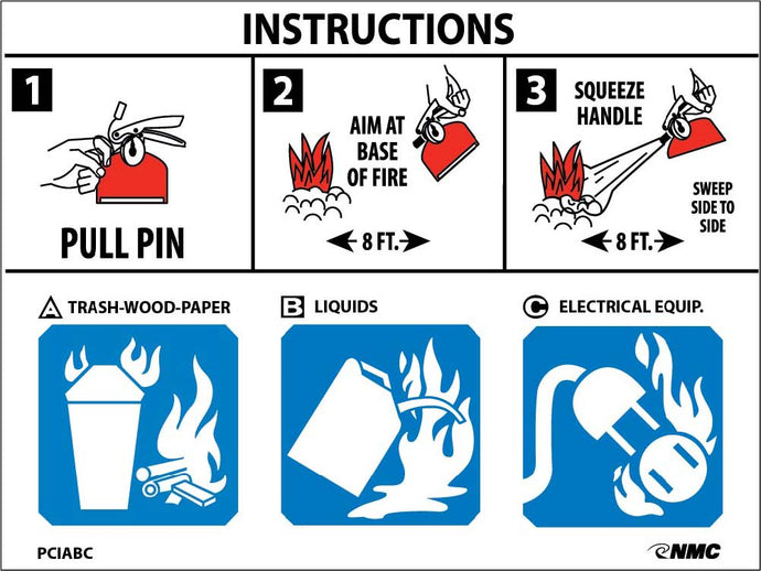 Fire Extinguisher Instructions Sign - Pack of 100