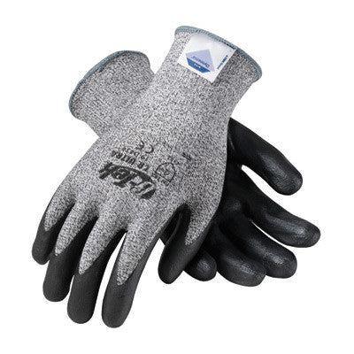 Protective Industrial Products Small G-Tek CR Ultra 13 Gauge Cut Resistant Black Foam Nitrile Palm And Fingertip Coated Work Gloves With Gray Seamless Liner And Continuous Knit Cuff