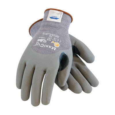 Protective Industrial Products 2X MaxiCut 5 By ATG Cut Resistant Gray Micro-Foam Nitrile Palm And Knuckle Coated Work Gloves With Gray Seamless Dyneema, Lycra And Glass Liner , Continuous