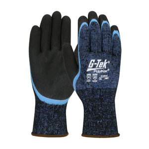 G-Tek® PolyKor® Seamless Knit Single-Layer PolyKor® / Acrylic Blended Glove with Double-Dipped Latex Coated MicroSurface Grip on Palm & Fingers