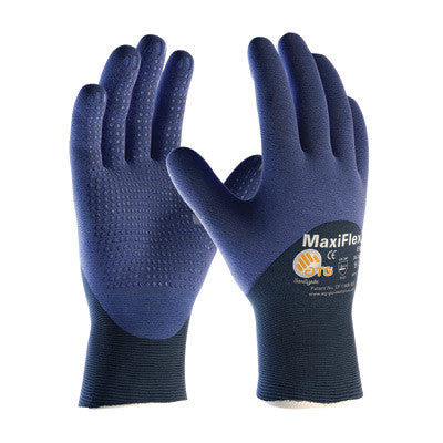 Protective Industrial Products Small MaxiFlex Elite by ATG Ultra Light Weight Blue Micro-Foam Nitrile 3/4 Dipped Palm, Finger And Knuckle Coated Work Glove With Blue Seamless