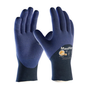 Protective Industrial Products Large MaxiFlex Elite by ATG Ultra Light Weight Blue Micro-Foam Nitrile 3/4 Dipped Palm, Finger And Knuckle Coated Work Glove With Blue Seamless