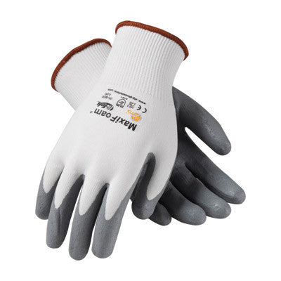Protective Industrial Products Large MaxiFoam By ATG 15 Gauge Abrasion Resistant Gray Foam Nitrile Palm And Fingertip Coated Work Gloves With White Seamless Knit Nylon Liner And Continuous Knit Cuff