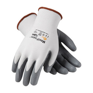 Protective Industrial Products Medium MaxiFoam By ATG 15 Gauge Abrasion Resistant Gray Foam Nitrile Palm And Fingertip Coated Work Gloves With White Seamless Knit Nylon Liner And Continuous Knit Cuff