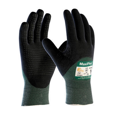 Protective Industrial Products X-Large Green And Black MaxiFlex Cut By ATG Engineered Yarn Cut Resistant Gloves With Continuous Knitwrist, Dotted Palm And Fingers And Reinforced Thumb Crotch