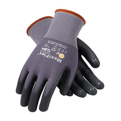 Protective Industrial Products 34-844/L Large MaxiFlex Endurance by ATG 15 Gauge Abrasion Resistant Black Micro-Foam Nitrile Palm And Fingertip Coated Work Gloves With Gray Seamless Knit