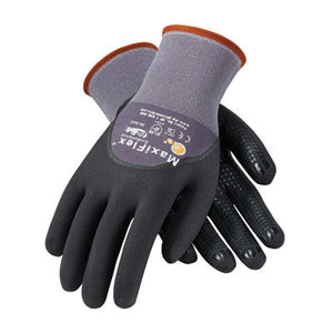 Protective Industrial Products 34-845/S Small MaxiFlex Endurance by ATG 15 Gauge Abrasion Resistant Black Micro-Foam Nitrile Palm And Fingertip Coated Work Gloves With Gray Seamless Knit