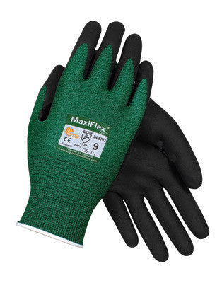 Protective Industrial Products Small MaxiFlex Cut by ATG Black Micro-Foam Nitrile Dipped Palm And Finger Coated Work Glove With Continuous Knitwrist