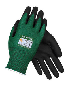 Protective Industrial Products Large MaxiFlex Cut by ATG Black Micro-Foam Nitrile Dipped Palm And Finger Coated Work Glove With Continuous Knitwrist