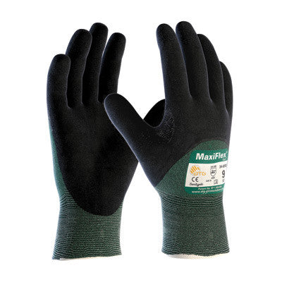 Protective Industrial Products X-Large Green And Black MaxiFlex Cut By ATG Engineered Yarn Cut Resistant Gloves With Continuous Knitwrist, Dotted Palm, Fingers And Knuckles And Reinforced Thumb Crotch