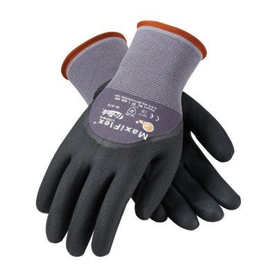 Protective Industrial Products Small MaxiFlex Ultimate by ATG 15 Gauge Abrasion Resistant Black Micro-Foam Nitrile Palm, Finger And Knuckle Coated Work Gloves With Gray Seamless Knit Nylon And
