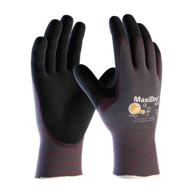 Protective Industrial Products Small MaxiDry by ATG Ultra Light Weight Abrasion Resistant Black Nitrile Palm And Fingertip Coated Work Gloves With Purple Seamless Knit - Case