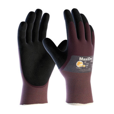 Protective Industrial Products Medium MaxiDry by ATG Ultra Light Weight Abrasion Resistant Black Nitrile Dipped Coated Work Gloves With Purple Seamless Knit Nylon Liner And Continuous Knit Cuff