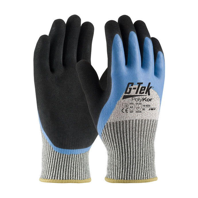 G-Tek® PolyKor® Seamless Knit PolyKor® Blended Glove with Acrylic Lining and Double-Dipped Latex Coated MicroSurface Grip on Palm, Fingers & Knuckles
