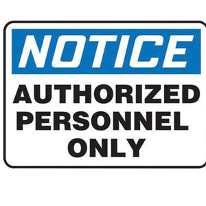 "Accuform Signs 10"" X 14"" Black, Blue And White 0.040"" Aluminum Admittance And Exit Sign ""NOTICE AUTHORIZED PERSONNEL ONLY"" With Round Corner"