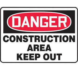 "Accuform Signs 10"" X 14"" Black, Red And White 0.040"" Aluminum Admittance And Exit Sign ""DANGER CONSTRUCTION AREA KEEP OUT"" With Round Corner"