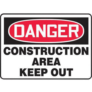 "Accuform Signs 10"" X 14"" Black, Red And White 0.055"" Plastic Admittance And Exit Sign ""DANGER CONSTRUCTION AREA KEEP OUT"" With 3/16"" Mounting Hole And Round Corner"