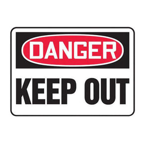 "Accuform Signs 10"" X 14"" Black, Red And White 0.040"" Aluminum Admittance And Exit Sign ""DANGER KEEP OUT"" With Round Corner"