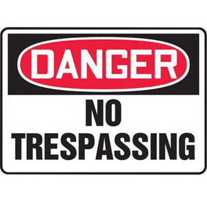 "Accuform Signs 10"" X 14"" Black, Red And White 0.040"" Aluminum Admittance And Exit Sign ""DANGER NO TRESPASSING"" With Round Corner"