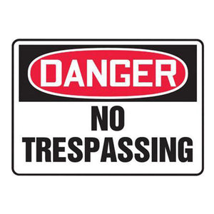 "Accuform Signs 10"" X 14"" Black, Red And White 0.055"" Plastic Admittance And Exit Sign ""DANGER NO TRESPASSING"" With 3/16"" Mounting Hole And Round Corner"