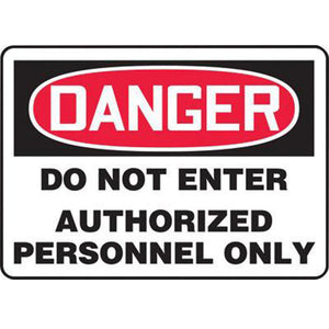 "Accuform Signs 7"" X 10"" Black, Red And White 0.055"" Plastic Admittance And Exit Sign ""DANGER DO NOT ENTER AUTHORIZED PERSONNEL ONLY"" With 3/16"" Mounting Hole And Round Corner"
