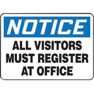 "Accuform Signs 7"" X 10"" Black, Blue And White 0.055"" Plastic Admittance And Exit Sign ""NOTICE ALL VISITORS MUST REGISTER AT OFFICE"" With 3/16"" Mounting Hole And Round Corner"
