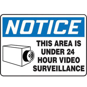 "Accuform Signs 7"" X 10"" Black, Blue And White 0.040"" Aluminum Admittance And Exit Sign ""NOTICE THIS AREA IS UNDER 24 HOUR VIDEO SURVEILLANCE "" With Round Corner"