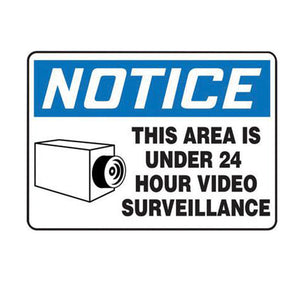 "Accuform Signs 7"" X 10"" Black, Blue And White 0.055"" Plastic Admittance And Exit Sign ""NOTICE THIS AREA IS UNDER 24 HOUR VIDEO SURVEILLANCE "" With 3/16"" Mounting Hole And Round Corner"