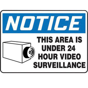 "Accuform Signs 10"" X 14"" Black, Blue And White 0.055"" Plastic Admittance And Exit Sign ""NOTICE THIS AREA IS UNDER 24 HOUR VIDEO SURVEILLANCE"" With 3/16"" Mounting Hole And Round Corner"